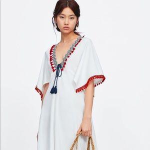 NWT'S Zara Contrasting White PomPom Dress Medium
